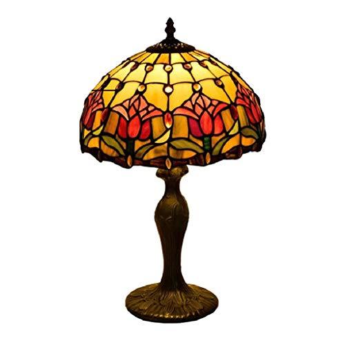 Dsrgwe Schreibtischlampen Vintage Red Tulip Nachttischlampe Tiffany-Art-Aluminiumunter for Schlafzimmer Wohnzimmer Leseleuchten Couchtisch