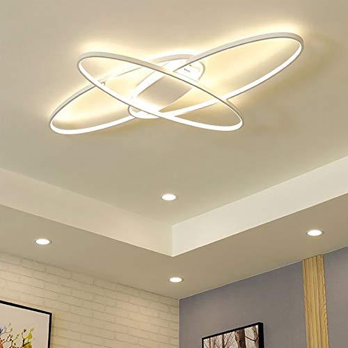 ZBL LED Wohnzimmerlampe Deckenleuchte Dimmbar mit Fernbedienung Modern Oval Design Esszimmerlampe Deckenbeleuchtung Esstischlampen Schlafzimmerlampe (Farbe : Weiß, Größe : 95×65cm)