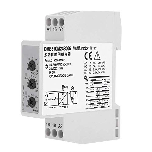 HYY-YY Time Relay, DC 24V & AC 24-240V Time Delay Relay Timer Controller Delay Switch Module for Automatic Adjustment