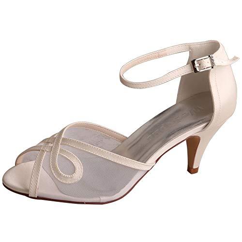 Zapatos De Novia De Satén Malla para Mujer Tacón Medio Punta Abierta...