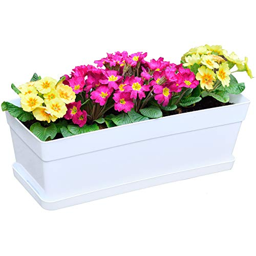 Youngever 3 Pack 15 Inch Plastic Window Box Planter, Heavy Duty, Flower Box Planter with Attached...