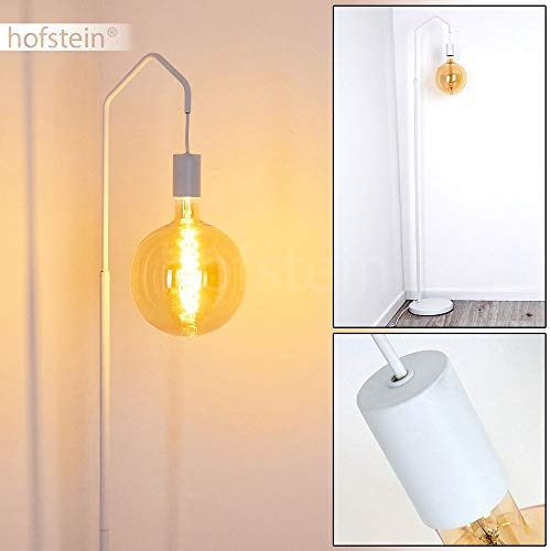 Vloerlamp Cuyama, Vintage vloerlamp van metaal in wit, 1 vlam, E27 stopcontact, max. 40 watt, hoogte 165 cm, vloerlamp in retrodesign met voetschakelaar op de kabel, LED geschikt