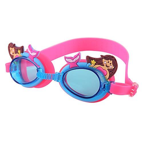Frmarche - Occhiali da Nuoto per Bambini, Motivo: Cartone Animato, Anti-Appannamento, per Piscina, Lunghezza Regolabile, Rosa