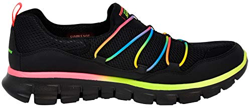 Skechers Sport Women's Loving Life Memory Foam Fashion Sneaker, Black/Black/Multi, 7.5