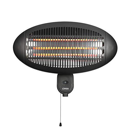 Calefactor de infrarrojos para terraza o exterior, calefactor eléctrico para terraza (calefacción por infrarrojos, montaje en pared y techo con interruptor, 3 niveles de calefacción)