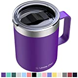 Umite Chef Stainless Steel Insulated Coffee Mug Tumbler with Handle, 12 oz Double Wall Vacuum Tumbler Cup with Lid Insulated Camping Tea Flask for Hot & Cold Drinks(Purple)