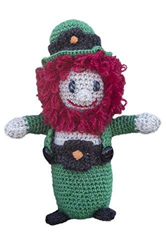 Carraig Donn Soft 100% Merino Wool Knit Irish Leprechaun Doll with Green Design