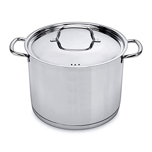 BergHOFF - 10 L (26 CM) Kochentopf aus Edelstahl - Gemüsetopf / Suppentopf mit Deckel - Spülmaschinenfest - Induktion