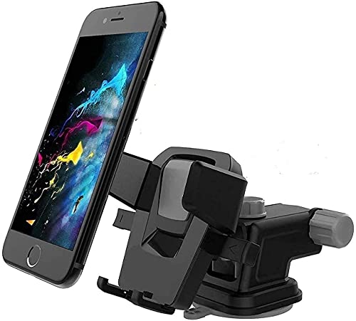CQLEK® Car Mobile Phone Holder – Telescopic One Touch Long Neck Arm Adjustable Quick Stand Technology 360 Degree Rotation | Ultimate Reusable Suction Cup Mount for Dashboard/Windshield/Desktop