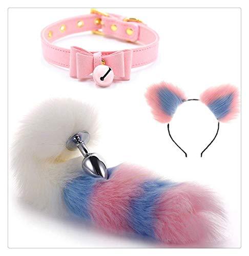 forocean3 Piezas Fluffy Faux Fox Tail y Multicolor Felpa Orejas de Gato Diadema y Cuello de Campana Disfraz Masaje Corporal Accesorios de Cosplay # 6 Multicolor L
