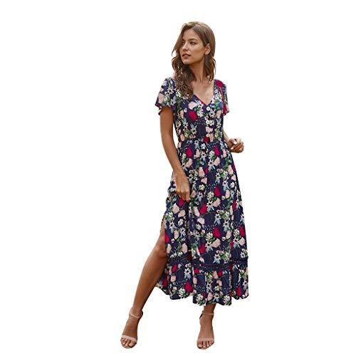 Ansenesna Kleid Blumen Boho Damen Sommer Lang Elegant Kleider mit Schlitz Frauen V Ausschnitt Kurzarm Strandkleider Leichte Sommerkleider (Marineblau,L)