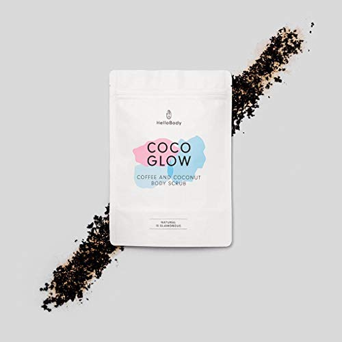 HelloBody Coco Glow Body Scrub (200g) – Veganes Körper Peeling für trockene Haut – für Körper und Gesicht – Natürliches Kaffee Peeling mit leckerem Kokos-Duft