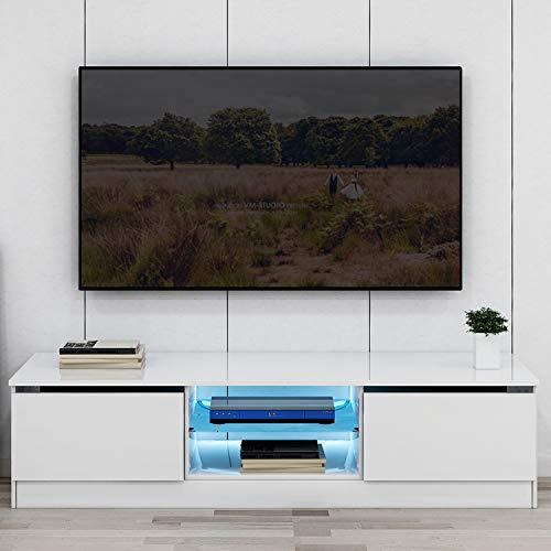Mueble bajo para TV con iluminación LED color blanco brillante mueble para televisión mueble de TV de pie con estante de cristal y cajón mueble de TV con mucho espacio de almacenamiento para tu salón