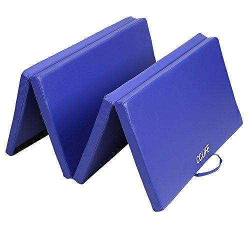 CCLIFE 180cm Materassino da Ginnastica Pieghevole per Allenamento Casa Morbido Tappetino Fitness in Tre Segment | 180x80x5cm, Colore:Blu
