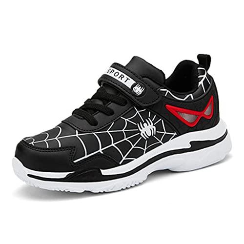 Xyh723 Garçons Spiderman Formateurs Enfants Baskets en Plein Air Adolescent Tennis Football Chaussures Enfant Mode Running Sport Anniversaire Thanksgiving Day Cadeau,Black-33 20.9CM