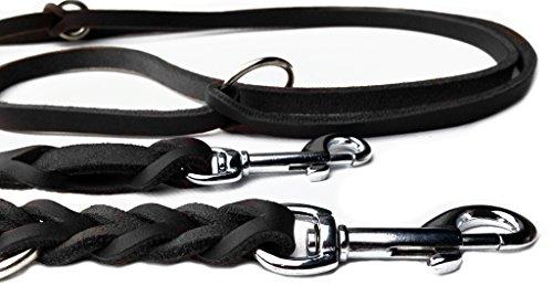 Fettleder Führleine schwarz geflochten, Chrom 2,40m, Hundeleine aus Leder (240cm x 15mm)