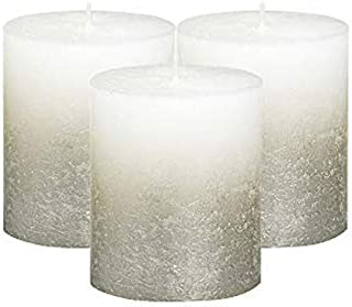 BOLSIUS Rustic Unscented Pillar Candles - White with Silver Coated Bottom Decorative Candles Set of 3 - Burning Dripless D...