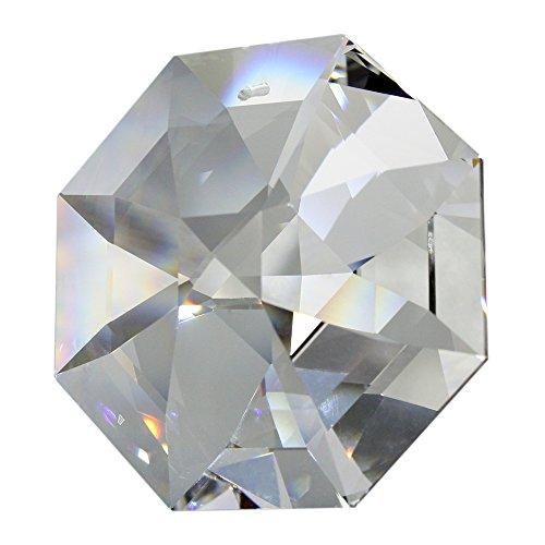 Swarovski Strass Koppel, Crystal Octagon, 60 mm, enorme kristallen diamant, hoogwaardige volledig geslepen kristal voor kroonluchters en decoratiedoeleinden, rijk aan regenboogkleuren met cadeauzakje