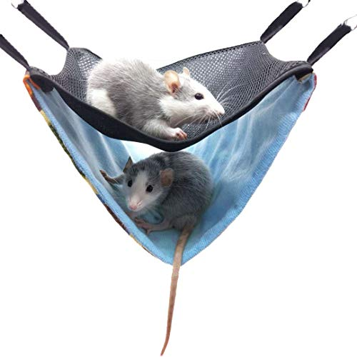 ZOOPOLR Small Pet Animal Hammock, Double Bunkbed Hammock Hanging Bed, Small Animal Cage Toy Accessories for Hamster/Squirrel/Guinea Pig/Chinchillas/Mice/Rats/Mini Dutch Pig