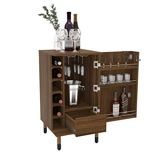 Boahaus Wrexham Expandable Bar Cabinet, 01 Door, 06 Wine Racks, 01 Drawer