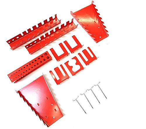 Dreiteilige Werkzeuglochwand aus Metall mit 14tlg. Hakenset, ca. 120 x 60 x 1 cm - 9