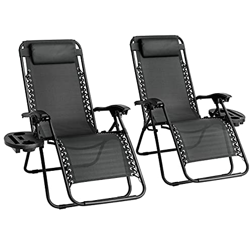 Straame Garden | Zero Gravity Chair | Set of 2 | Heavy Duty Textoline | Outdoor & Garden Sunloungers | Reclining & Folding Chair with Cup Holder and Headrest Pillow