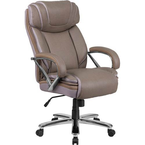 Parkside Series 500 lb. Capacity Big and Tall Taupe Leather Executive Swivel Office Chair with Extra Wide Seat