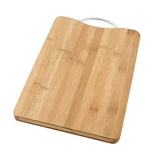 Tabla de cortar de bambú gruesa para cocina con asas, resistente para bandeja de servir frutas y verduras