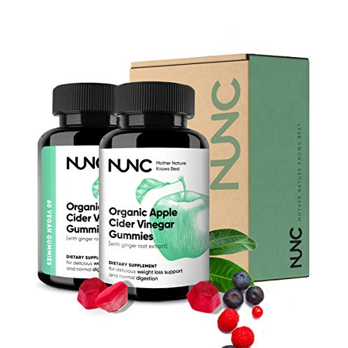NUNC Apple Cider Vinegar Gummies - 2 Pack - Unfiltered Organic ACV w/Ginger Root Extract | Support Metabolic & Digestive Functions for Slimmer Feeling, Increased Energy, Detox & Cleanse - 120 Count