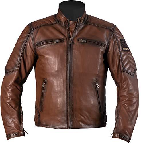 Helstons Raft - Chaqueta de piel para moto, talla L, color marrón
