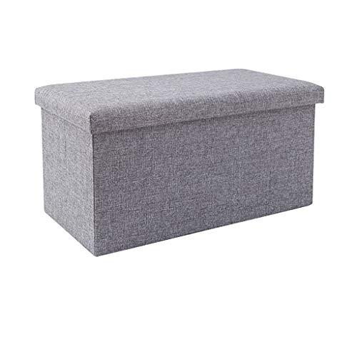 Tabouret de pied avec rangement Pouf pliant Tabouret de rangement polyvalent avec siège en éponge mémoire Siège de repos en tissu de lin respirant en coton, grand banc Cube 110 L, canapé de chambre à