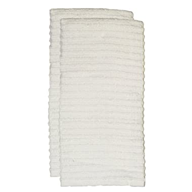Ritz Royale Collection 100% Combed Terry Cotton, Highly Absorbent, Oversized, Kitchen Towel Set, 28  x 18 , 2-Pack, Solid White
