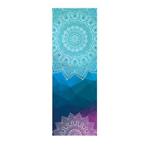 XKMY Pro Yoga Mat Mantas de yoga Mujeres Gimnasio Danza Fitness antideslizante Yoga Mat Impresión Deporte Ejercicio Pilates Entrenamiento Toalla Suave (Color: Azul)