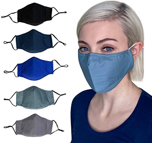Cloth face Masks Washable Reusable, Breathable Cotton face Masks for Women, Men, 3 layer Cotton with Nose Wire, Filter Pocket, Adjustable Ear Loops, Solid color, 3D, 4 Layer Fabrics (Adult, 5-Pack)
