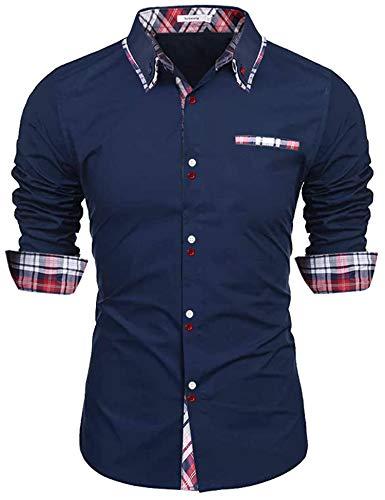 Sykooria Camicia Manica Lunga Uomo Slim Fit Classiche, Camicie Casual Moda Formale di Colletto 100% Cotone