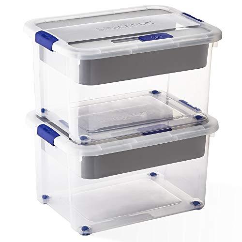 USE FAMILY Space Box Cajas de almacenaje plastico transparente Apilables- Lote 2 Caja Organizador con ruedas para cama, cocina, cuarto (60 L, Con Bandeja)
