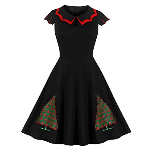 Vcenty Chrismtas Dresses for Women Sleeveless Princess Collar Xmas Tree Printed Dress Birthday Holiday Swing Party Dress Black
