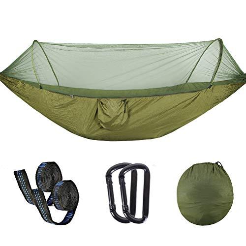 AMZQJD Ultraleichte Moskito Netz Camping Hängematte Outdoor / 300kg Tragfähigkeit,(250 x 120 cm/290 * 145cm) Schnell öffnen Fallschirm Nylon, für Outdoor Camping und Indoor Garten(250 * 120cm, Grün)