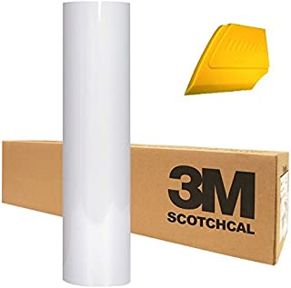 3M Scotchcal Electrocut Gloss Adhesive Graphic Vinyl Film 12 Inch x 24 Inch Roll w/Hard Yellow Detailer Squeegee (White)