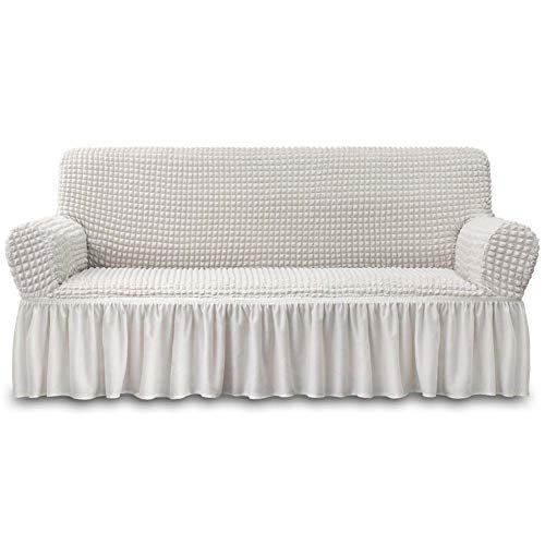 NICEEC Sofa Slipcover Ivory Sofa Cover 1 Piece Easy Fitted Sofa Couch Cover Universal High Stretch...