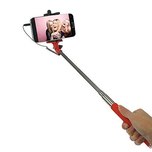 macma STYLETEC ausziehbare Selfie Stange/Stick/Stab mit Handschlaufe   Selfiestange   Selfiestab   Selfiestick - Kabelsteuerung (rot)