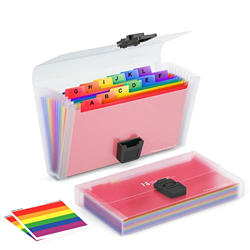 BluePower 2 Pack Plastic Accordian File Organizer A6 Size, 7x4.5 Inches,13 Pockets Mini Expanding File Folder, Portable Filing BoxColored Accordion Folders for Cards, Coupons, Receipt, Tax Item