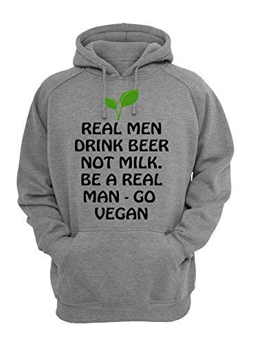 real mannen drinken bier niet melk ga vegan slogan unisex hoodie