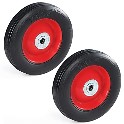 Skelang Solid Rubber Tires 6 Inches, Flat Free Wheels 1/2-Inch Axle Size, Hand Truck Replacement...