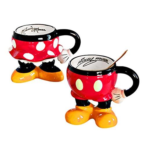 Copa De Champán Taza De Agua Para Niños Taza De Desayuno 3D Gran Oferta Dibujos Animados Lindo Minnie Mickey Taza Ratón Taza De Té De Vidrio De Cerámica Par De Tazas De Dibujos Animados Para Niños De