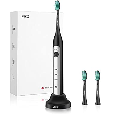 MiKiZ Electric Toothbrush, Sonic Electronic Whitening Toothbrushes Cordless Rechargeable with Smart Timer 3 Count Replacement Brush Heads (Black)