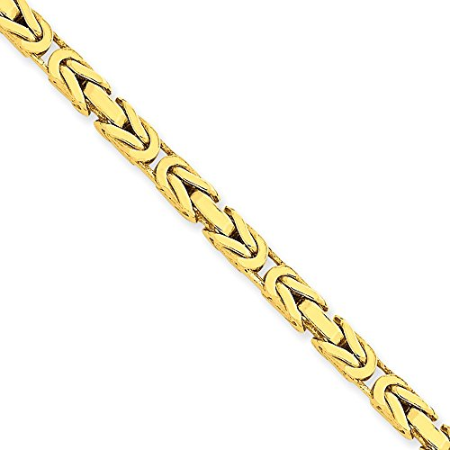 14ct Yellow Gold 4mm Byzantine Chain Bracelet Necklace 8 inch for Men Women