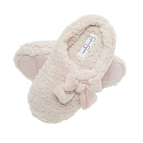 Jessica Simpson Womens Plush Marshmallow Slide On House Slipper Clog with Memory Foam (Size Small, Pink)
