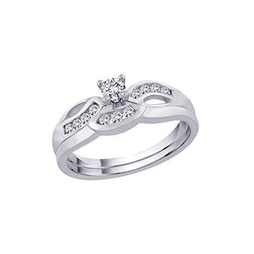 KATARINA - Anillo de Compromiso para Novia, con Diamantes y Banda a Juego en Oro Blanco de 14 Quilates (1/3 Quilates) (Color-GH, Claridad-I1)