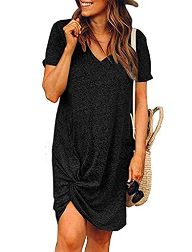Locryz Womens Mini Dress Short Sleeve V Neck Side Knot Casual T Shirt Dress XL Black